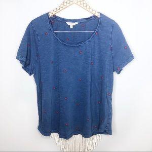 Lucky Brand 2X Blue Scoop Neck Flower T-shirt